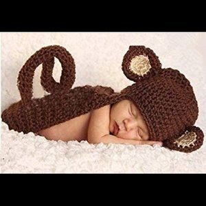 Brand New Knit Monkey Baby Photo Prop Costume